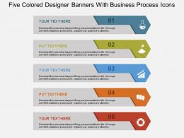 Five Colored Designer Banners With Business Process Icons Flat Powerpoint Design