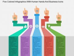 Five Colored Infographics With Human Hands And Business Icons Flat Powerpoint Design