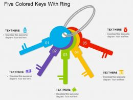 Five Colored Keys With Ring Flat Powerpoint Desgin