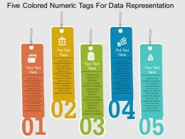 Five Colored Numeric Tags For Data Representation Flat Powerpoint Design