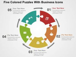 five_colored_puzzles_with_business_icons_flat_powerpoint_design_Slide01