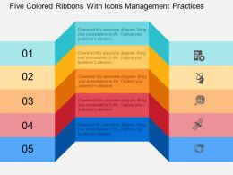 Five Colored Ribbons With Icons Management Practices Flat Powerpoint Design
