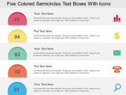 Five Colored Semicircles Text Boxes With Icons Flat Powerpoint Design