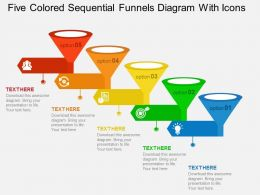 Five Colored Sequential Funnels Diagram With Icons Flat Powerpoint Design