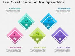 Five Colored Squares For Data Representation Flat Powerpoint Design