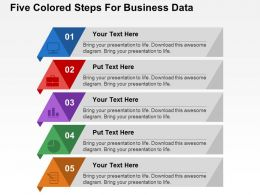 Five Colored Steps For Business Data Flat Powerpoint Design