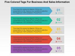 five_colored_tags_for_business_and_sales_information_flat_powerpoint_design_Slide01