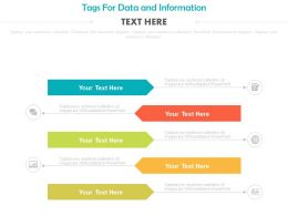 Five Colored Tags For Data And Information Powerpoint Slides
