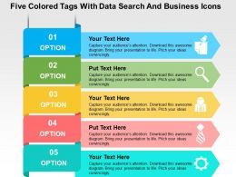 Five Colored Tags With Data Search And Business Icons Flat Powerpoint Design