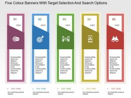 five_colour_banners_with_target_selection_and_search_options_flat_powerpoint_design_Slide01