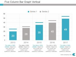 Five Column Bar Graph Vertical Presentation Design
