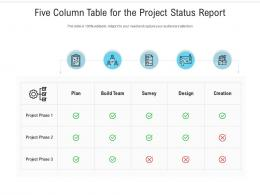Five Column Table For The Project Status Report