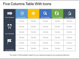 Five Columns Table With Icons