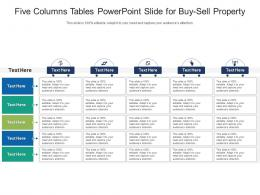 Five Columns Tables Powerpoint Slide For Buy Sell Property Infographic Template