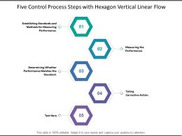 Five Control Process Steps With Hexagon Vertical Linear Flow