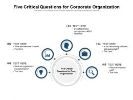 Five Critical Questions For Corporate Organization