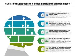 Five Critical Questions To Select Financial Messaging Solution