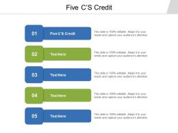 Five CS Credit Ppt Powerpoint Presentation Slides Brochure Cpb