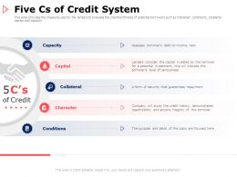 Five Cs Of Credit System Conditions Ppt Powerpoint Presentation Infographics Graphics