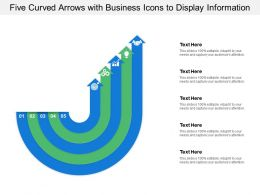 Five Curved Arrows With Business Icons To Display Information