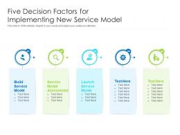 Five Decision Factors For Implementing New Service Model
