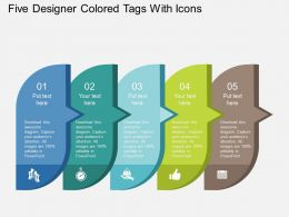 Five Designer Colored Tags With Icons Flat Powerpoint Design