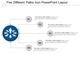 Five Different Paths Icon Powerpoint Layout