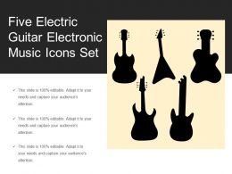 Five Electric Guitar Electronic Music Icons Set