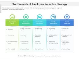 Five Elements Of Employee Retention Strategy