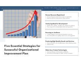 Five Essential Strategies For Successful Organizational Improvement Plan