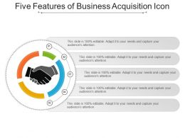 Five Features Of Business Acquisition Icon Presentation Graphics