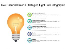Five Financial Growth Strategies Light Bulb Infographic