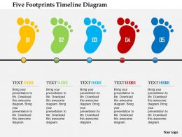 Five Footprints Timeline Diagram Flat Powerpoint Design