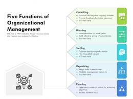 Five Functions Of Organizational Management