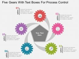 five_gears_with_text_boxes_for_process_control_flat_powerpoint_design_Slide01
