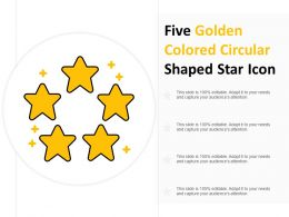 Five Golden Colored Circular Shaped Star Icon