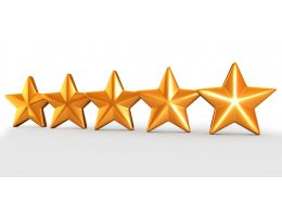 Five Golden Stars For Quality Check And Assurance Stock Photo