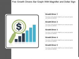 Five Growth Drivers Bar Graph With Magnifier And Dollar Sign
