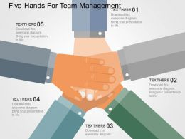 five_hands_for_team_management_flat_powerpoint_design_Slide01