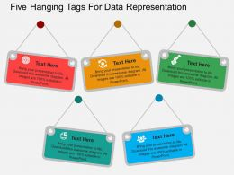 Five Hanging Tags For Data Representation Flat Powerpoint Design