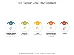 Five Hexagon Linear Flow With Icons
