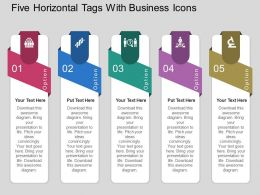 Five Horizontal Tags With Business Icons Flat Powerpoint Design