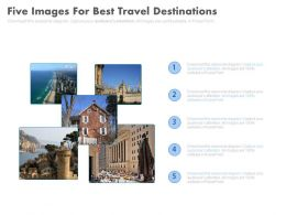 Five Images For Best Travel Destinations Flat Powerpoint Design