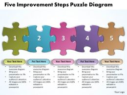 Five Improvement Steps Puzzle Diagarm Powerpoint templates ppt presentation slides 0812