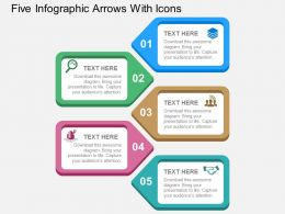 Five Infographic Arrows With Icons Flat Powerpoint Design