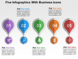 Five Infographics With Business Icons Flat Powerpoint Design