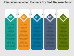Five Interconnected Banners For Text Representation Flat Powerpoint Design