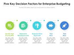 Five Key Decision Factors For Enterprise Budgeting