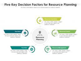 Five Key Decision Factors For Resource Planning