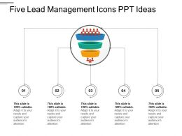 Five Lead Management Icons Ppt Ideas